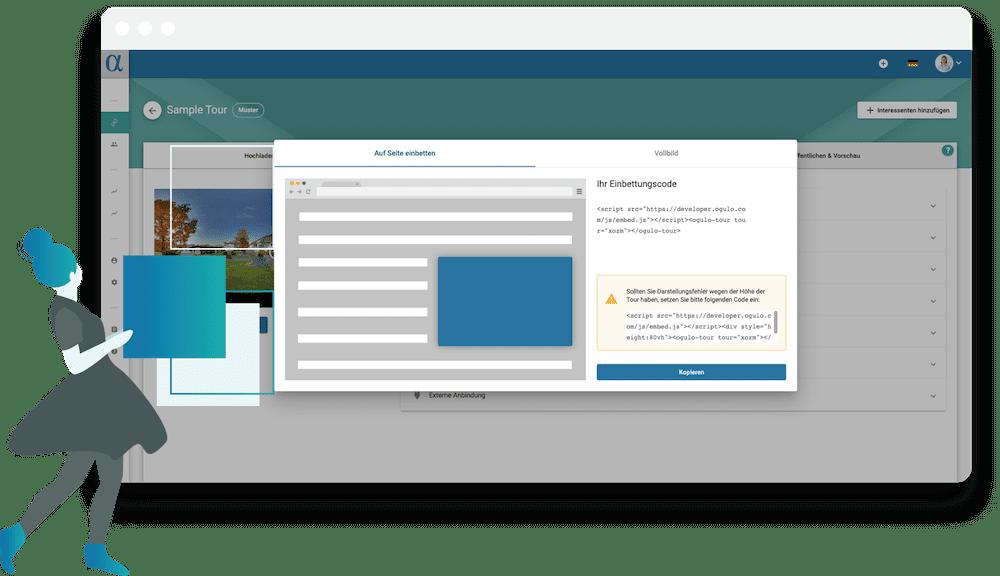 Mit Ogulo Alpha integrieren Sie Ihre virtuellen Rundgänge nahtlos in Ihre Website